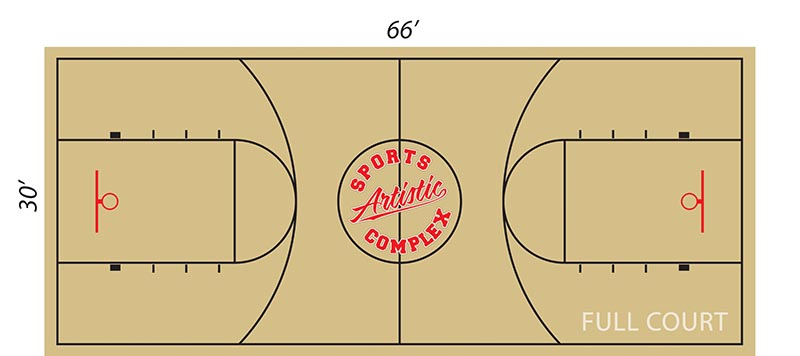 Layout of full basketball rental court at Artistic Stitch Sports Complex in Queens, NY.