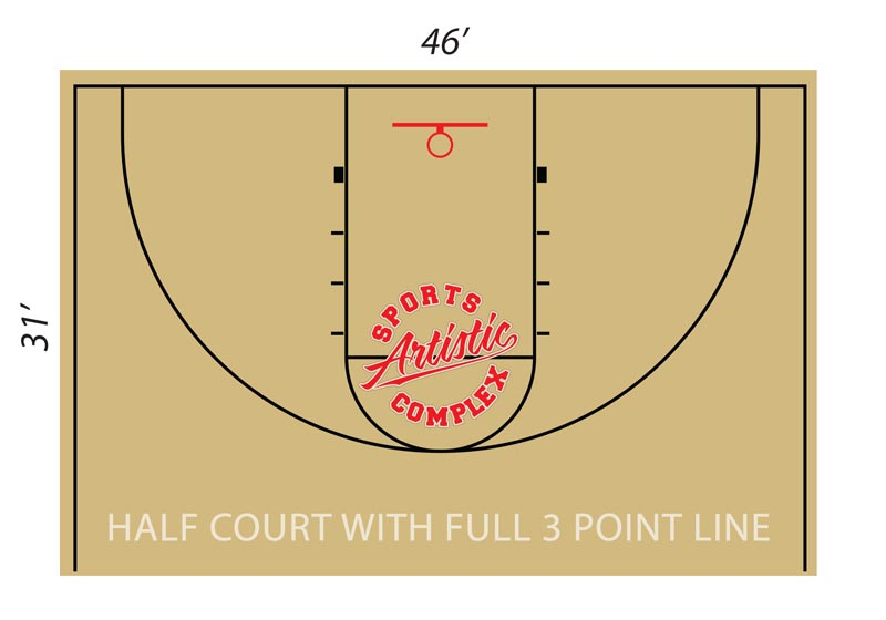 Layout of half basketball rental court with full 3 point line at Artistic Sports Complex in Queens, NY.