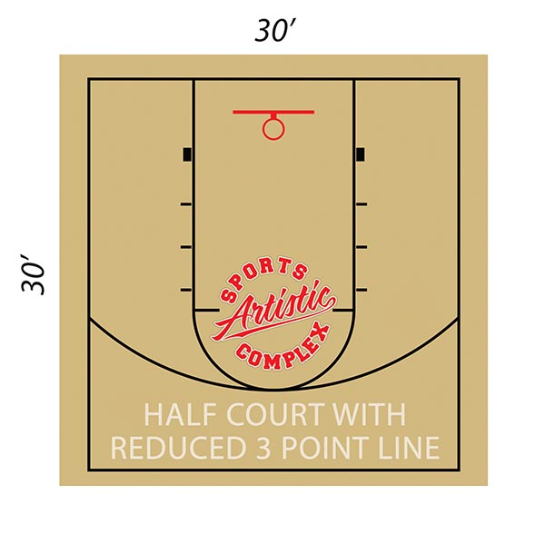 Layout of half basketball rental court with reduced 3 point line at Artistic Sports Complex in Queens, NY.